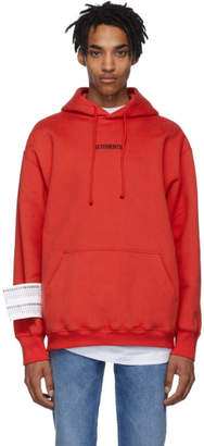 Vetements Red Logo Hoodie