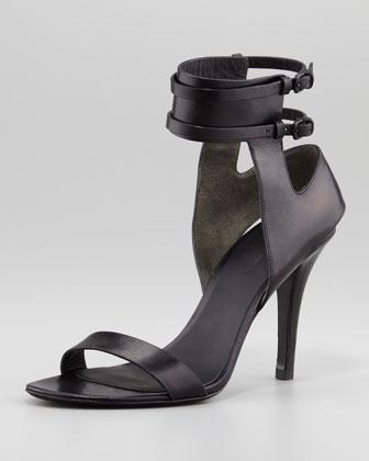 Alexander Wang Johanna Ankle-Cuff Leather Sandal, Black