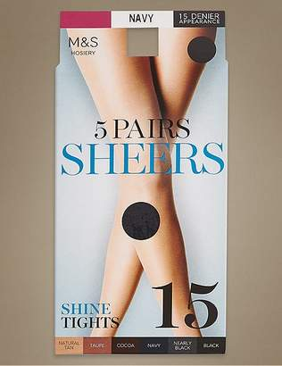 Marks and Spencer 5 Pair Pack 15 Denier Sheer Shine Tights