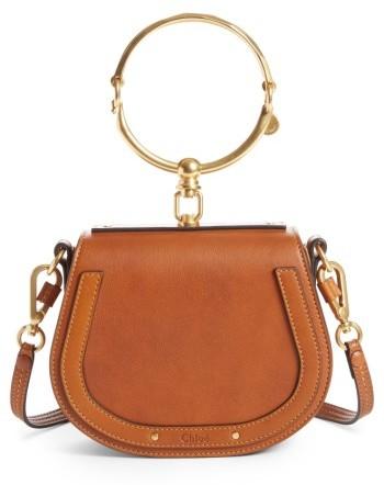 Chloe Small Nile Bracelet Leather Crossbody Bag - Brown