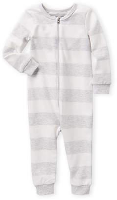 Petit Lem Newborn Boys) Grey & White Striped Romper