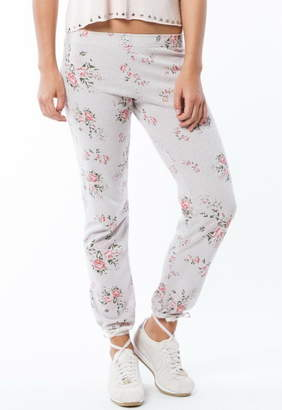 Monrow Elastic Waist Sweatpant With Floral Print