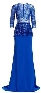 Naeem Khan Quarter-Sleeve Beaded Blouson Gown