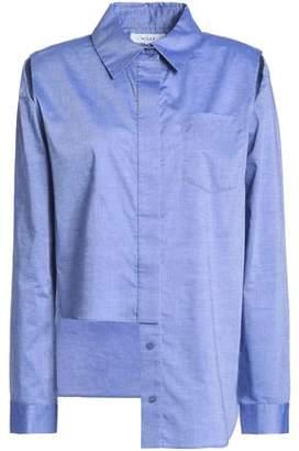 Milly Asymmetric Cutout Cotton-Chambray Shirt