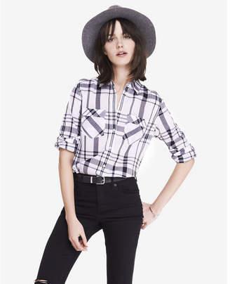 Express black and white cotton plaid boyfriend shirt