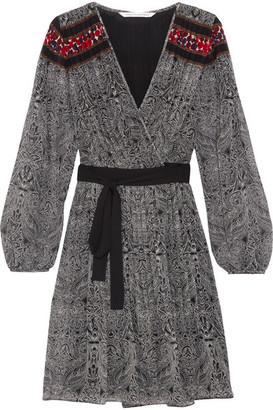 Diane von Furstenberg - Bianka Pleated Printed Georgette Wrap Dress - Black $600 thestylecure.com