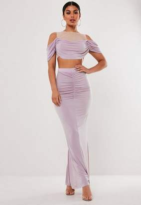 Missguided Lilac Ruched Front Fishtail Maxi Skirt