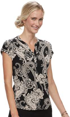 Dana Buchman Petite Placket Short Sleeve Top