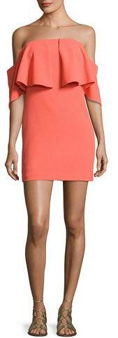 Trina Turk Mirador Off-the-Shoulder Popover Mini Dress, Orange Spritz
