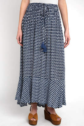 Tiare Hawaii Blue Spotted Smocked Maxi Skirt