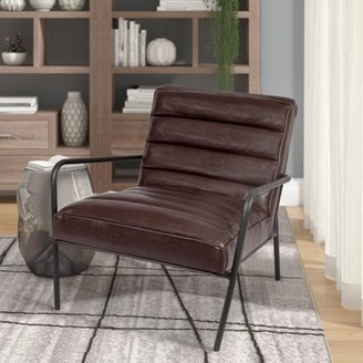 Incadozo Tufted Faux Leather Arm Chair--Brown