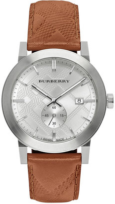 Burberry Men's Swiss Chronograph The City Brown Leather Strap Timepiece 42mm BU9904 $495 thestylecure.com