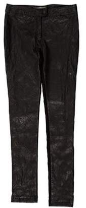 Preen Line Leather Mid-Rise Pants
