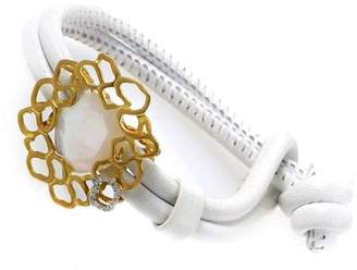 18K Yellow Gold and Leather with Mother of Pearl and Diamond Bracelet