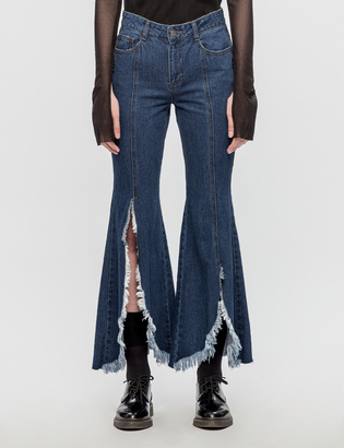 SJYP Front Cut Off Wide Jeans $260 thestylecure.com