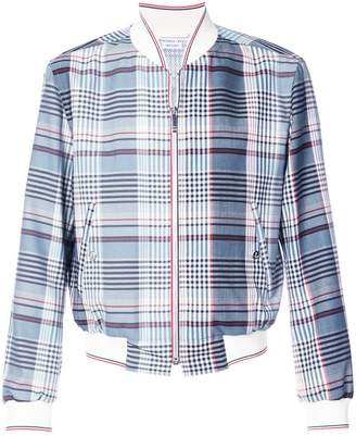 Thom Browne Zip Front Blouson Storm Flap Jacket In Large Madras Check Wool Suiting