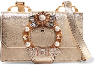 Miu MiuMiu Miu - Embellished Metallic Textured-leather Shoulder Bag - Gold