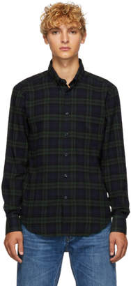 Naked & Famous Denim Denim Green and Navy Check Shirt