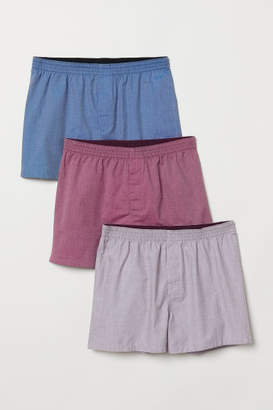 H&M 3-pack Woven Boxer Shorts - Pink