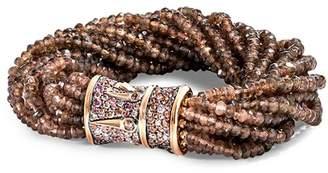 John Hardy 18K Rose Gold Bamboo Beaded Multi-Strand Bracelet with Brown Diamond & Brown Sapphire