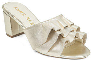 Anne Klein Ruffled Leather Mules