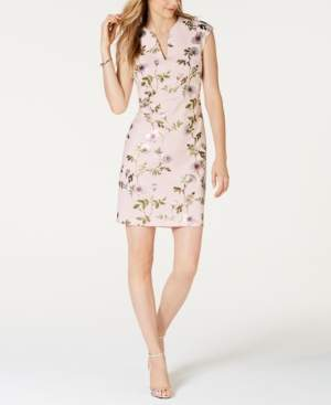Connected Floral-Print Cap-Sleeve Sheath Dress