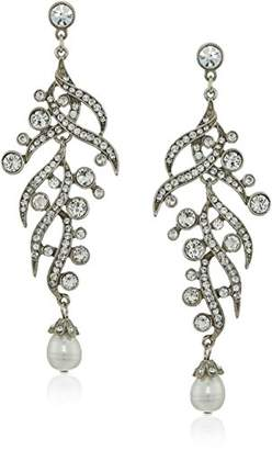 Ben-Amun Jewelry Pearl and Crystal Branch Deco Post for Bridal Wedding Anniversary Drop Earrings