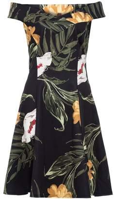 Quiz Black Mustard And Cream Floral Print Bardot Dress