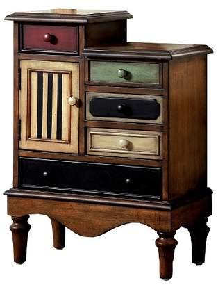 Sun & Pine Felicia Vintage 5 Drawer Accent Chest Antique Walnut - Sun & Pine