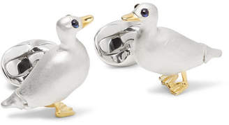 Deakin & Francis Waddling Duck Gold-Plated, Sterling Silver And Sapphire Cufflinks