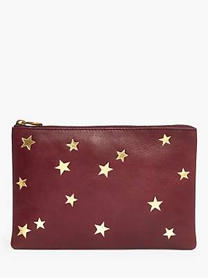 Madewell Leather Pouch Clutch Bag, Star Embossed Edition, Dark Cabernet