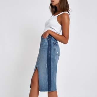 River Island Womens Mid Blue premium split front denim midi skirt