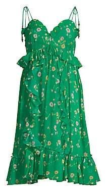 The Kooples Women's Silk Floral Shoulder Tie Dress