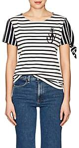 J.W.Anderson WOMEN'S KNOTTED-SLEEVE STRIPED COTTON T-SHIRT-NAVY SIZE XS