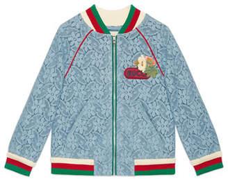 c8d0a7d95 Gucci Lace Bomber Jacket w/ Knit Trim, Size 4-12