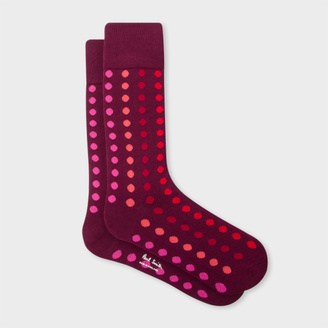 Men's Burgundy Graduated Polka Dot Socks $30 thestylecure.com