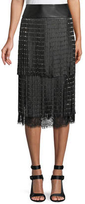 Alice + Olivia Senna Studded Leather Fringe Midi Skirt