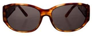 Salvatore Ferragamo Tinted Leather-Trimmed Sunglasses Brown Tinted Leather-Trimmed Sunglasses
