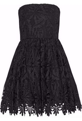 Alice + Olivia Alice+olivia Strapless Pleated Guipure Lace Mini Dress