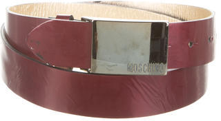 Moschino Metallic Patent Leather Belt $65 thestylecure.com