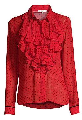ad56ad306ae6a3 Ganni Women s Printed Georgette Ruffle Front Blouse