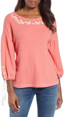 Caslon Embroidered Blouson Sleeve Top