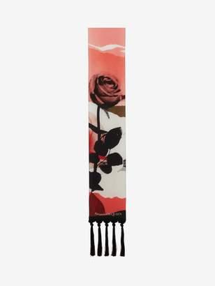 Alexander McQueen Torn Rose Silk Scarf