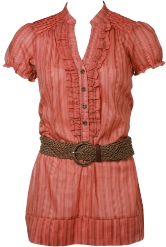 Belted Pinstripe Top