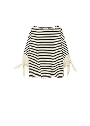 Violeta BY MANGO Bows striped sweatshirt