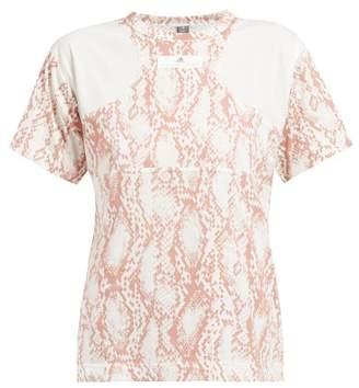 adidas by Stella McCartney Snake Print Cotton Blend T Shirt - Womens - Pink White