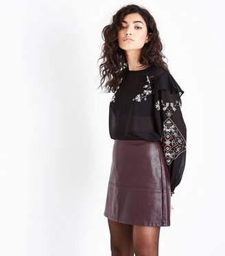 New Look Burgundy Leather-Look Mini Skirt