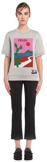   Printed Cotton Blend Sweatshirt   Size L