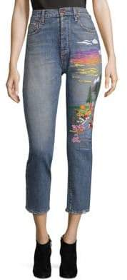 Alice + Olivia AO.LA by Amazing High-Rise Embroidered Jeans