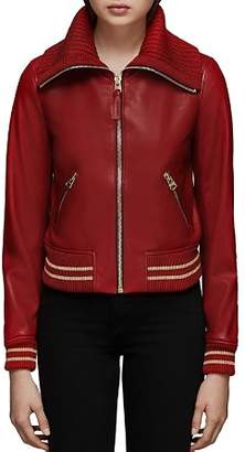 Mackage Krysta Leather Baseball Jacket